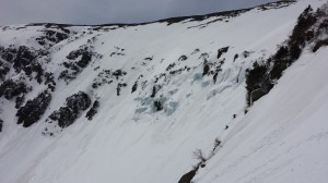 Tucks Headwall with ice beginning to melt out