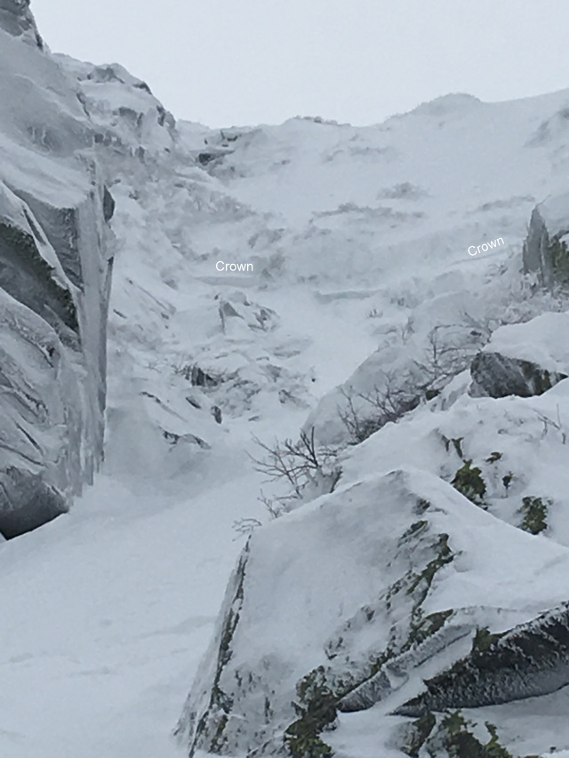 A view into the Chute after the avalanche. Crown most likely wraps around out of view to the right. (image: nealpinestart.com)