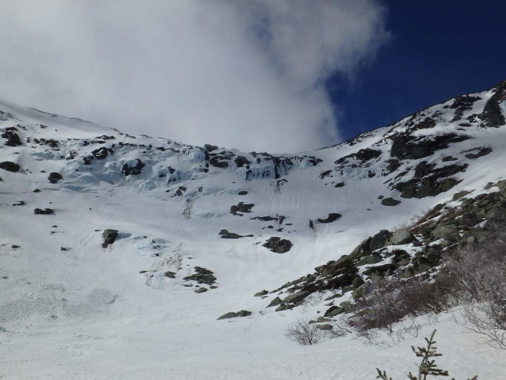 The waterfall opening in the main drainage of the Lip is open in several places. A fall into this would most likely be fatal. Multiple crevasses can be seen in the vicinity.