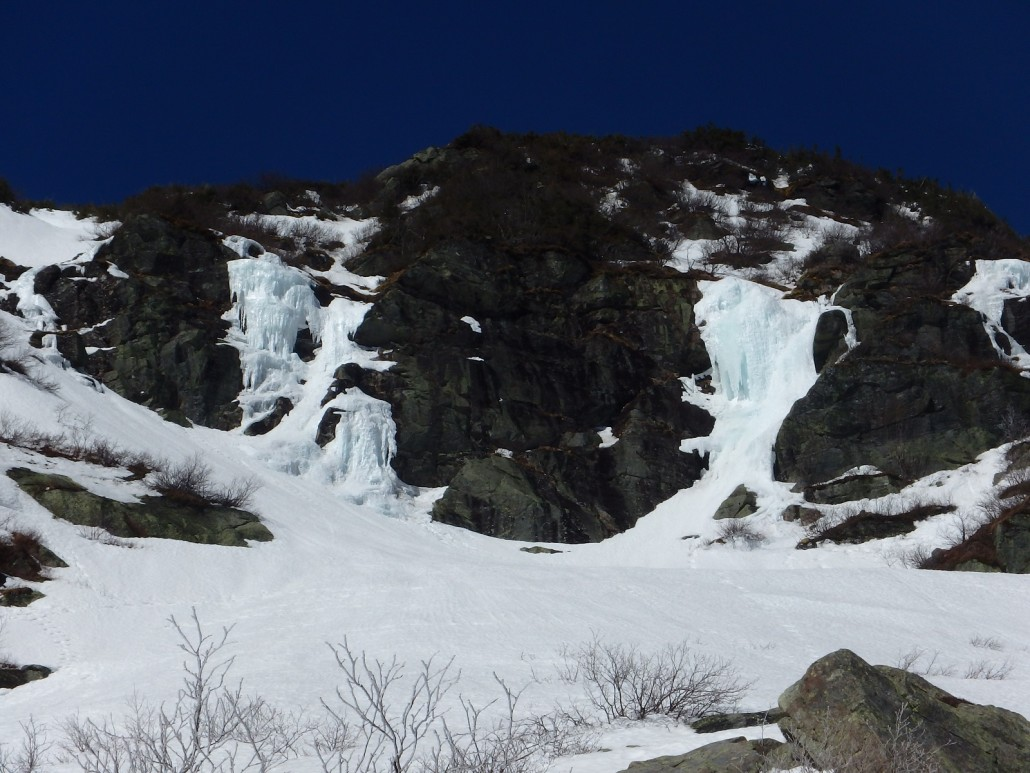 A close-up of the Sluice Ice that lingers directly above Lunch Rocks.