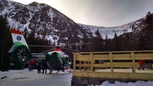 The helicopter at Hermit Lake. Photo by Sam Bendroth