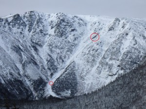 Hillman's Highway a week prior to the incident. The two red circles indicate where the skier fell and where he came to a rest.