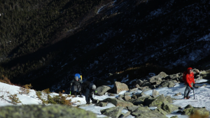 Snowshoers topping out Hillman's Highway